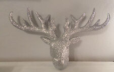 SILVER GLITTER DEER STAG HEAD WALL SCULPTURE FAUX TAXIDERMY HANGING HOME DECOR