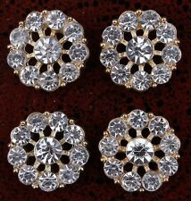 slightly more than 1/2 inch Clear Alloy Rhinestone Flatback Buttons set of 4