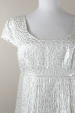 Michael Kors Silver Metallic White Dress Empire Waist Sheath Swing 4 Small S