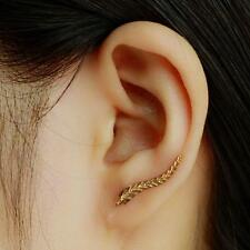 Hot Trend Fashion Jewelry Simple Small Cute Leaf Leaves Gold Bar Stud Earring
