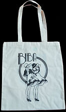 RETRO BIBA HAT DRESS WIND SHOPPING ECO TOTE BAG 100% NATURAL COTTON BLACK PRINT