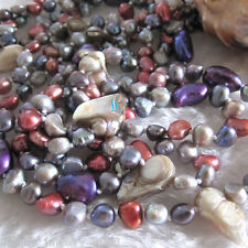 "74"" 6-10mm Multi Color Baroque Freshwater Pearl Necklace B"