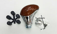GEAR KNOB WOOD STYLE WITH CHROMED ALLOY EFFECT SHIFT STICK NOB UNIVERSAL