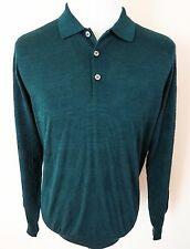 $1100 NWT BRIONI Green Cashmere Wool Silk Polo Knit Sweater Shirt Size Large