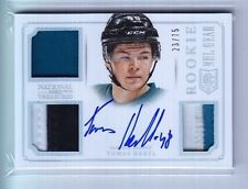 2013-14 National Treasures Tomas Hertl NHL Gear Triple Jersey Patch Auto Rc /75