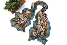 Long Chiffon Scarf Navy and Brown Theme Plaid Print CHL113