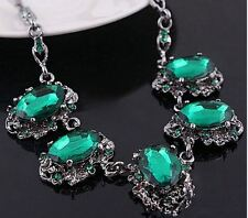 ANTIQUE GUN TONE VINTAGE VICTORIAN  LOOK CHUNKY GREEN CRYSTAL NECKLACE