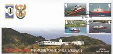 Tristan da Cunha 2012 FDC Agulhas II 4v Set Cover Maiden Voyage Ships Boats