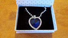 Titanic 18K White Gold Plated Ocean Heart Necklace Blue Crystal with Gift Box