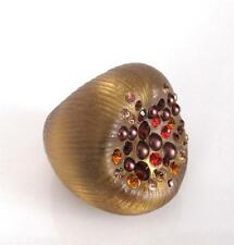 NEW Alexis Bittar Amber Lucite Dust Cocktail Ring Size 7 Crystals Statement