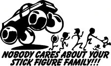 Nobody cares about your stick figure family characters vinyl sticker decal funny