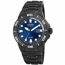 Men's Citizen Eco-Drive Scuba Fin Black Stainless Steel Diver Watch BN0095-59L