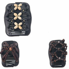 Magic Wooden EZ Stretchy Double Clips Hair Slide Comb New Random colour/design