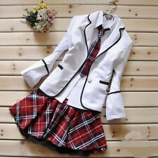 Korean Japanese School Girl Student Uniform w/Suit Jacket Cosplay Costume Size S