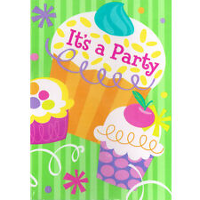 CUPCAKE PARTY INVITATIONS (8) ~ Birthday Supplies Stationery Cards Notes Cute