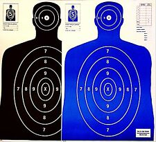 Paper Shooting Targets 50 Black/50 Blue Silhouette Gun Pistol Rifle B-27 Qty:100
