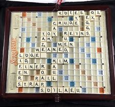 Travel Scrabble Word Board Game Zippered Case Lock In Letters Hasbro 2001