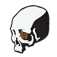 "Grey 5.11 Tactical ""Skull Shot"" PVC Rubber Hook & Loop Morale Patch"