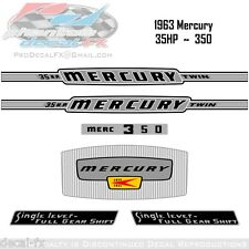 1963 Mercury 35HP Outboard Reproduction 6 Piece Vinyl Decal Kit 350