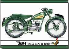 BSA 125CC MODEL D1 BANTAM METAL SIGN.VINTAGE BRITISH BSA MOTORCYCLES.(A4 SIZE)