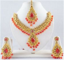 Fashion Necklace Pendant Earrings Set Indian Bridal Gold Tone Red CZ Jewelry