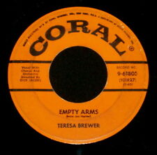 "TERESA BREWER ""EMPTY ARMS/The Ricky-Tick Song"" CORAL 61805 (1957) 45 rpm"