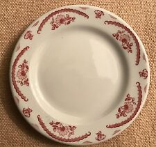 "Caribe China S/12 MAROON FLORAL & SCROLLS ON RIM 6 1/4"" Bread and Butter Plates"