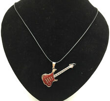 Fashion Jewelry Red Guitar Pendant Stainless Steel Charm Black Necklace Gift#5