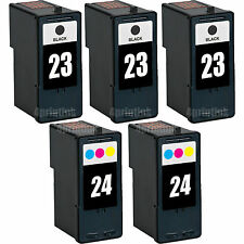 5 Pk 23 Black & 24 Color Ink For Lexmark Z1410 Z1420 X3530 X3550 X4530 X4550