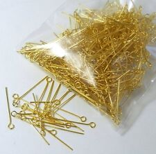 500 Gold Plated Brass Jewelry Eye-rosary Pins 1 Inch 22 Guage .027dia In