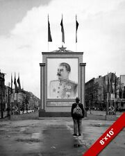 1945 EASTERN GERMANY SOVIET RUSSIA STALIN POSTER PHOTO ON REAL CANVAS ART PRINT