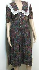 VTG Long Dress Women Juniors 13 Amish Floral Green Red Mix Leslie Fay S Pretty