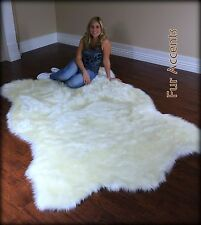 Shaggy Shag Plush Polar Bear Area Throw Rug Faux Fur Bear Skin Warm Off White 7'