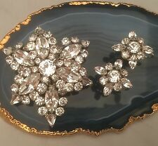 Vintage SHERMAN Signed All-White Crystal Demi Parure Brooch & Earrings Set -L195