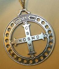 Huge Openwork Etched St. Benedict Peace PAX Silvertone Cross Pendant Necklace