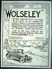 1917 WW1 WOLSELEY Motor Cars for After the War ADVERT - Small Auto Print Ad