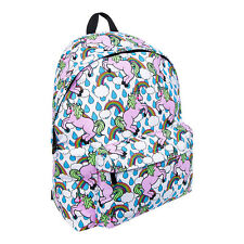 Multi Colour Bleeding Heart Unicorn Rainbow Fantasy Backpack Rucksack School Bag
