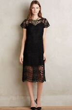 Anthropologie Size 4 Anya Black Flapper Embroidered Lace Midi Dress Myne Shift