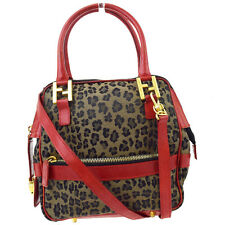 Auth FENDI Leopard 2Way Shoulder Hand Bag Canvas Leather Red Brown Italy 06A616