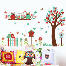 Colourful Tree Owls Butterfly Birds Family Nursery Room Wall Stickers Mural pvc