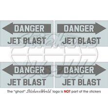 DANGER JET BLAST Flugzeug Hubschrauber LowVis 50mm Aufkleber x4 Stickers Decals