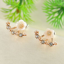 1Pair Elegant Crystal Rhinestone Ear Stud Flower Earrings Fashion Women Jewelry