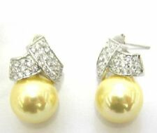 White CZ and Gold Shell Pearls Sterling Silver Crossover Drop Earrings