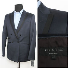 NWT Rag & Bone Navy Double Breasted Slim Fit Wool Dinner Tuxedo Smoking Jacket