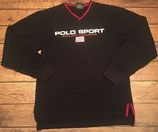 POLO SPORT Ralph Lauren Flag Spell out Long Sleeve Shirt Sz Youth M Women's RARE