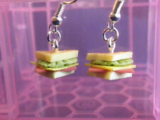 Earrings Dangle Sandwich Ham Cheese Lettuce/Birthday Gift/Novelty/Food