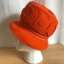Henry Pollak Womens Orange Wool Cloche Hat Vintage 1960s Retro Glenover 21 in