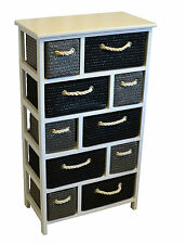 Grey Black White Chest of Drawers Wood Canvas Woven Rope Baskets Modern