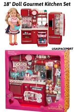 "69pc Doll KITCHEN +Refrigerator+Accessories Set 18"" American Girl Our Generation"