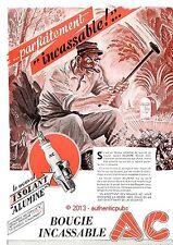 PUBLICITE BOUGIE AC PARFAITEMENT INCASSABLE DESSIN SIGNE RAOUL AUGER DE 1948 AD
